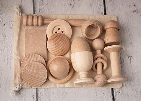 Heuristischer Schatzkorb aus Holz für Babys