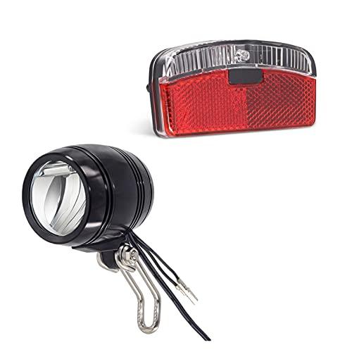 ZZCD Zcdzjxb Kit de luz de Bicicleta generador con luz de Faro de CA 6V y luz de Cola para la luz de estacionamiento de Bicicletas Pantalla de Bicicleta (Color : Front and Rear Light)