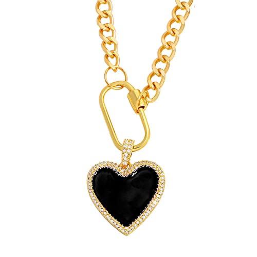 Focisa Collar Colgante Cadena Collares Hombre Mujer Collar De Cadena De Oro, Collar De Corazón Grande, Colgante para Mujer, Collar De Declaración De Esmalte De Circonita De Cobre, Regalo,