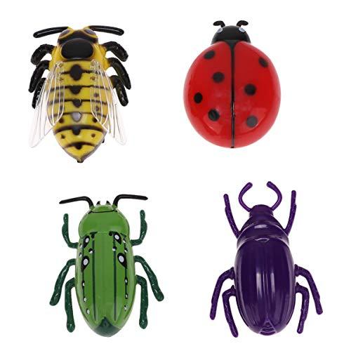 Cabilock 4 Stück Gefälschte Käfer Spielzeug Elektrische Insekten Spielzeug Insekten Pädagogisches Spielzeug Katze Teaser Spielzeug mit Knopf Batterie für Haustier Kinder Kinder (Gemischter