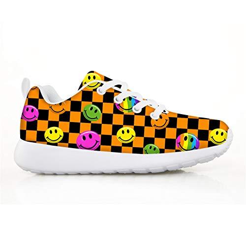 Lolyze Bonitos zapatos de deporte para niños, para interiores, para correr, para exteriores, unisex, con cara sonriente., color, talla 33 EU
