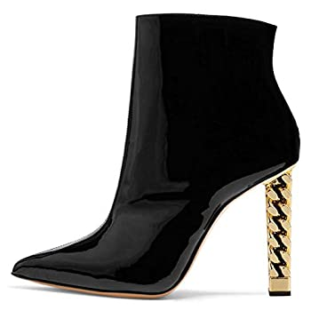 FSJ Women Trendy Pointed Toe Ankle Boots Block Chunky High Heel Booties Party Prom Shoes Zips Size 11 Black Patent