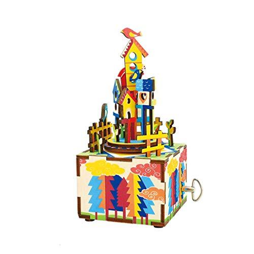 kyman Caja de música Regalo de Madera DIY Hecho a Mano Hermosa (Color (Color : A)