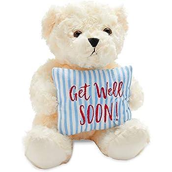 Get Well Soon Teddy Bear Stuffed Animal Gift  9.25 x 8 x 6 in White