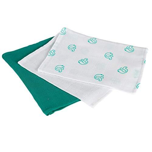 Bornino Lot de 3 gants de toilette en gaze 15 x 20 cm gant de toilette bébé, blanc/vert