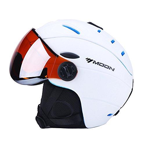 Sport Tent-Skihelm Snowboardhelme mit abnehmbarem Visier Unisex Erwachsene Wintersport Professionell Windproof Leichtgewicht Premium Helm (XL(61-64cm), Weiß)