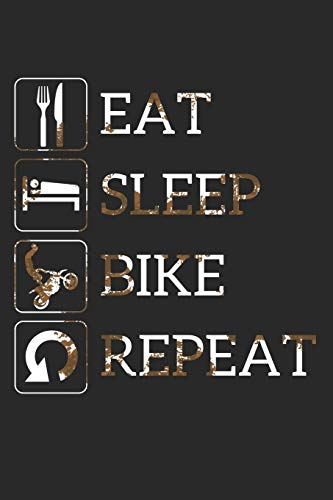 Grand Fantasy Designs - Notes: Eat Sleep Bike Repeat Crossbike Dirt - Notebook 6x9 dot grid