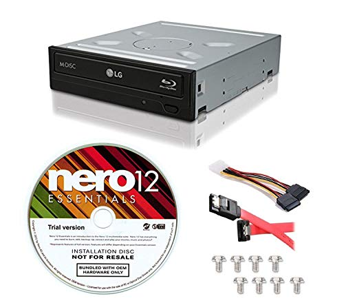 LG WH16NS40-KIT 16X Blu-ray BD/BDXL/MD M-DISC Burner Drive 3D Playback + Nero 12 Essentials Burning Software + Sata Cable Kit