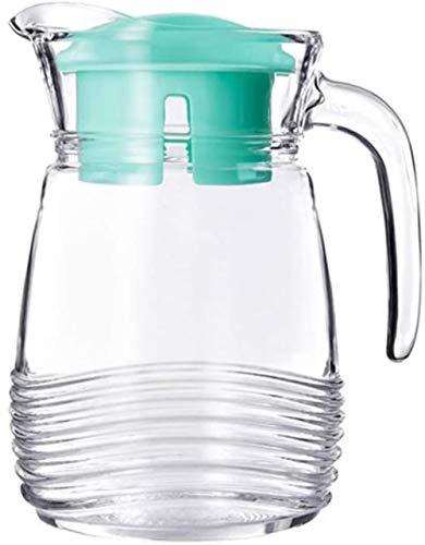 Tetera de cristal de cristal jarra de agua de vidrio fría jarra y jarra de té, café, limonada y hielo tetera de cristal jarra de agua juego de té (color: azul)