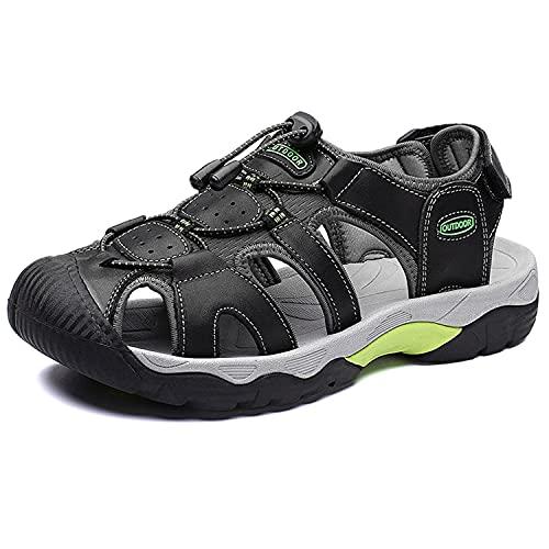 VTASQ Sandalias Hombre Verano Piel, Aire Libre Deportivas Playa Antideslizantes Zapatos Senderismo Sandalias con Punta Cerrada Zapatos de Senderismo,7255Negro,41EU