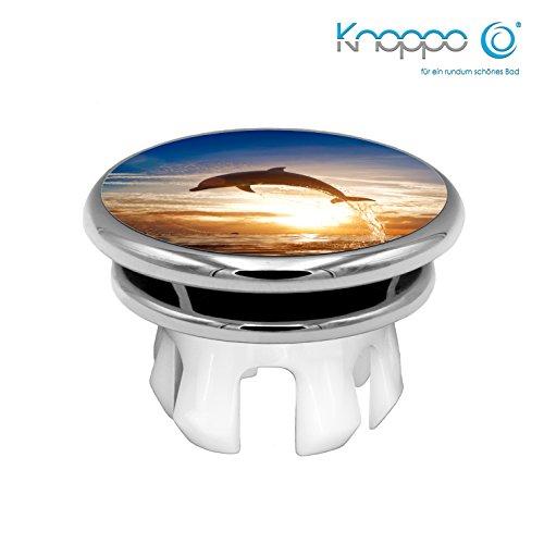KNOPPO® Waschbecken Überlauf Abdeckung, Überlaufblende, Überlaufrosette - Mirror Delphin Motiv (chrom)