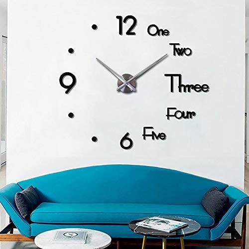 78Henstridge DIY Clock Frameless Mute Wall Clock Acrylic Digital Electronic 3D DIY Creative Silent Wall Clock for Home Office Decorations (Creative Black Small)