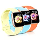 Sport Band Compatible with Apple Watch iWatch Bands 38mm 40mm 42mm 44mm,Soft Silicone Strap Wristbands for Apple Watch Series 3 6 5 4 2 1 SE Women Men Pack 3,Orange/Goose Yellow/Blue Sky,38/40mm,S/M