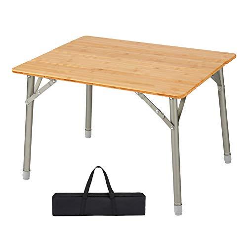 Mesa plegable al aire libre mesa portátil de bambú, mesa de picnic...