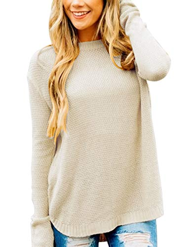 MEROKEETY Women's Long Sleeve Oversized Crew Neck Solid Color Knit Pullover Sweater Tops Beige
