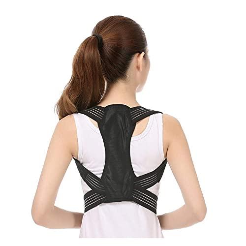 Corrector de Postura de clavícula Ajustable para Adultos Hombres Woemen Soporte de Espalda Superior Hombro Soporte Lumbar Cinturón Corrección de Postura de corsé (Color: Negro, Tamaño: Pecho de 23 a