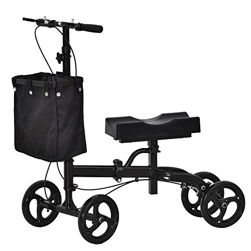 HOMCOM Foldable Knee Walker Assistance Scooter w/Padded Seat...
