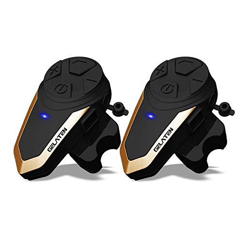 Gelaten Motorcycle Bluetooth Helmet Headset BT-S3 1000M Wireless Interphone Helmet Communication Systems for 2 or 3 Riders (FM Radio/Handsfree/Range-1000M)&2 Pack …