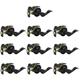Gobrico 10 Pack Black Interior Door Handles Privacy Locks Levers Bed/Bath Leversets (Universal Handling for Left/Right-handed Doors)
