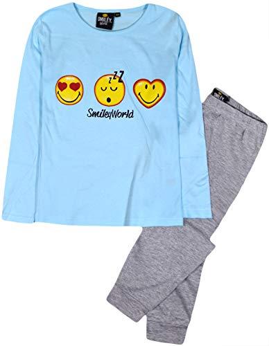 Jolly Rascals Pijama de Emoji para niñas, 2 Piezas, Pijama para niños, 2 Piezas, algodón, Pijama, Azul Lila, Edades de 5 a 6 años, 7 8 9 10 años Azul Azul 7-8 Años