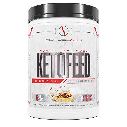 Purus Labs Ketofeed Creamy Butter Pecan | Keto Low Glycemic Protein Meal Replacement | Functional Fuel | Whey Isolate | MCT Healthy Fats | 20g Protein | Brain Health | Energy | 1 g Carbs or Less