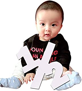 Half Sign Baby Photo Prop Sign - Large Numbers - Photography Props - Birthday Decor Age Sign (12 inches)