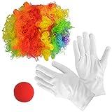Jerbro Juego de 4 disfraz de payaso arco iris peluca payaso nariz guantes blancos para fiestas de payaso carnavales