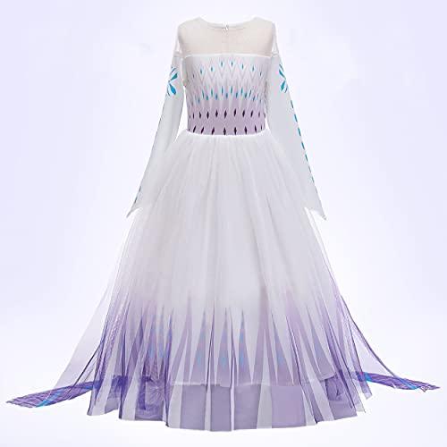 New Front - Disfraz de princesa Elsa para niña, vestido de princesa de Frozen, 2 mangas largas, disfraz y accesorios de Navidad, Halloween, cumpleaños, vestido de cosplay, corona