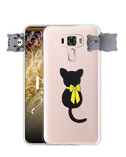 Sunrive Kompatibel mit Asus Zenfone 3 ZE520KL Hülle Silikon, Handyhülle Transparent Schutzhülle Etui 3D Hülle Backcover (W1 Katze) MEHRWEG+Gratis Universal Eingabestift