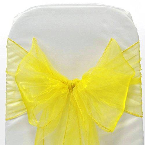 Paquete de 50 Silla Organza Completo Lazo Bandas - Semi-Transparente Tela Cubiertas con Minimal Sheen - Adecuado para Banquetes Bodas,Recepciones,Celebraciones, y Eventos | Amarillo