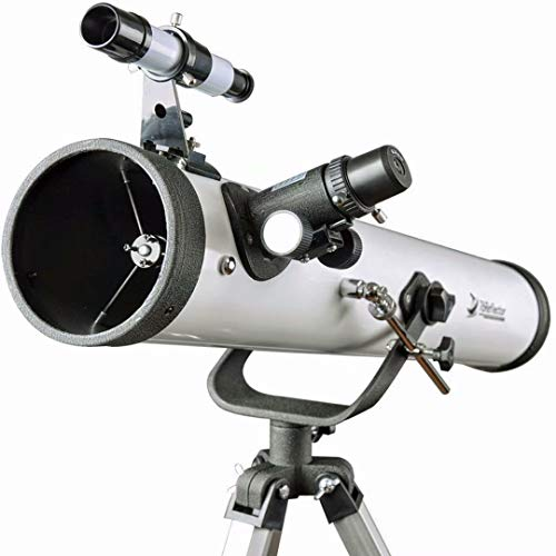 Telescopio 76700 Scope for Beginners-Reflector Travelscope 76mm Apertura 700mm Lunghezza focale con treppiede e attacco smartphone per smartphone da 1,25 pollici 10mm(76700 Telescopio)