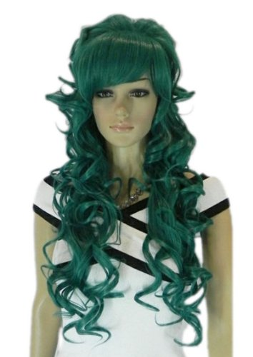 Qiyun Vert Ondule Boucle Complete Frange Synthetique Cheveux Perruque Cosplay Costume