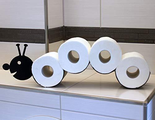 DanDiBo Toilettenpapierhalter Raupe WC Ersatzrollenhalter Toilettenrollenhalter Wand Schwarz Metall Papierhalter Rollenhalter