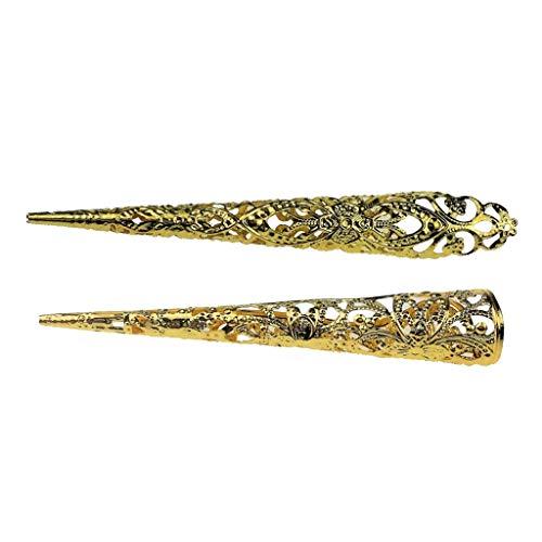Baoblaze 2 Stücke Chinesischer Alter Hohler Antiker Goldklaueknöchel-Fingernagelring
