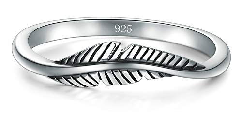 925 Sterling Silver Ring, Boruo Feather Ring Size 8