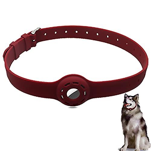 AiMok Funda Protector Collar de Silicona Compatible con AirTag 2021, Mascotas Perros y Gatos Correa Ajustable Locator Tracker Collar Cover Anti-Arañazos GPS Funda para AirTag - Rojo