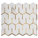 Soulscrafts Peel and Stick Tile Backsplash PVC White Marble Design with Gold Metal Trim Sticker Tile for Kitchen Backsplash Bathroom (5-Pack)