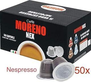 CAFFE MORENO USA, Nespresso Compatible 50 Capsule original Size ,Top Espresso Premium Bleand, Made in Italy, Il Vero Espresso Napoletano.
