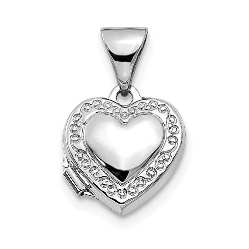 14k White Gold Polished Heart-Shaped Scrolled Locket - Measures 10.5x15.3mm - JewelryWeb