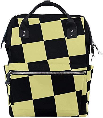 Bookbag zwart geel geruit baby print luiertas rugzak stijlvolle verzorging mummierugzak papa waterdichte luiertas mom mummie tas grote capaciteit Muti-Function Trav