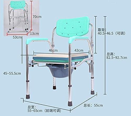 Nachttisch Kommode Aluminium klappbar Stuhl WC Stuhl ältere Behinderte Schwangere Frauen Toilette Stuhl Stuhl, a