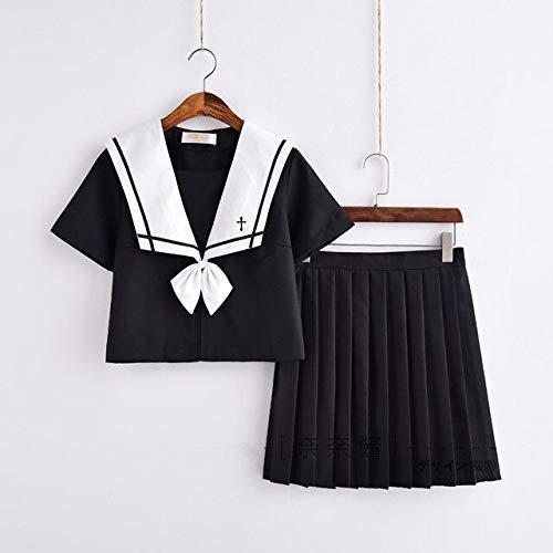 CLJ-LJ UPHYD - Conjunto de uniforme marinero para disfraz de uniforme de colegio JK para nias con cuello blanco y falda negra (color: juego de manga corta, tamao: M)