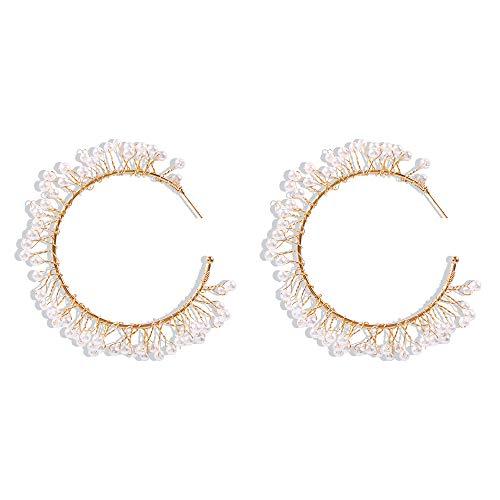 Pendientes callejeros, material de cristal de moda, pendientes de círculo grande en forma de C, accesorios femeninos de roca 2.9 * 2.9 pulgadas blanco perla