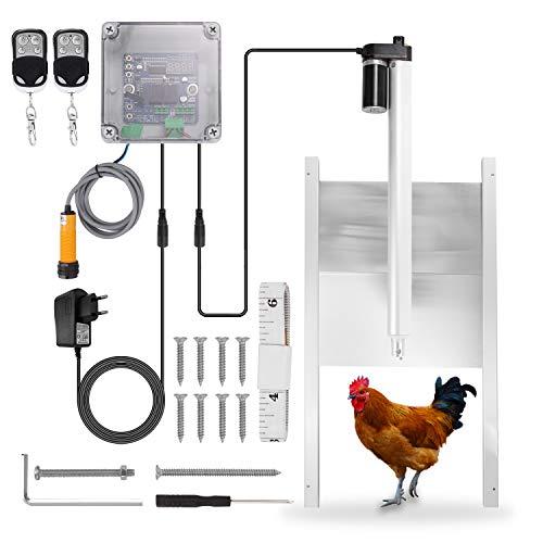 VISLONE Abridor de puerta de jaula de pollo por infrarrojos Controlador Actuador Motor Kit de apertura automática de puerta de gallinero Nivel de protección IP44 con función