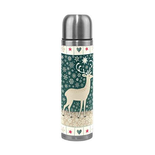 ALAZA Kerst Elk Dubbele Muur RVS Waterfles Lek Proof Vacuüm Thermische Isolatie Bekers Houd Dranken Warm en Koud Echt Lederen Cover 17 Oz