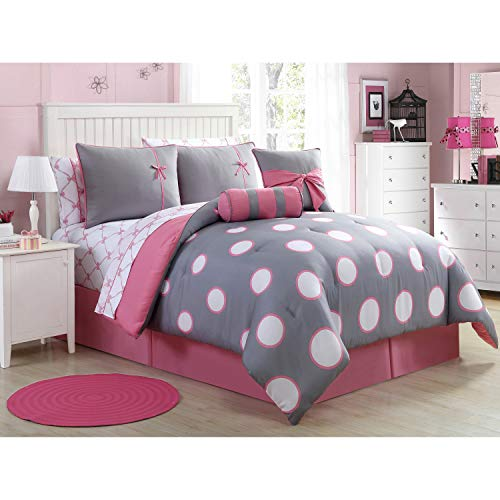 VCNY Home Sophie Collection Comforter Soft & Cozy Bedding Set, Stylish Chic Design for Home Décor, Machine Washable, Twin, Grey/Pink, 8 Piece