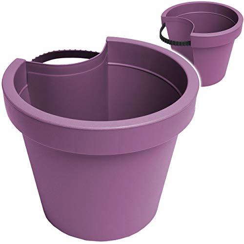 alles-meine.de GmbH Rohr & Stangen - Blumenkasten - lila - violett - RUND - 24 cm - Regenrohr / Fallrohr - Pflanzgefäß - Geländer / Zaun - Blumentopf / Pflanzkübel / Pflanzschale..