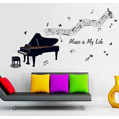 DALAO Etiqueta de la pared Piano De Cola Negro, Notas Musica