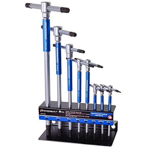"""Powerbuilt 8 Pc Metric T-Handle Hex Allen Key Wrench Set w/ Speed Sleeves for Fast Spinning Action, Sliding Top Handle for """"T"""" or """"L"""" Shape, Long Shafts, Storage Rack, Auto, Bicycle, Moto - 941645"""