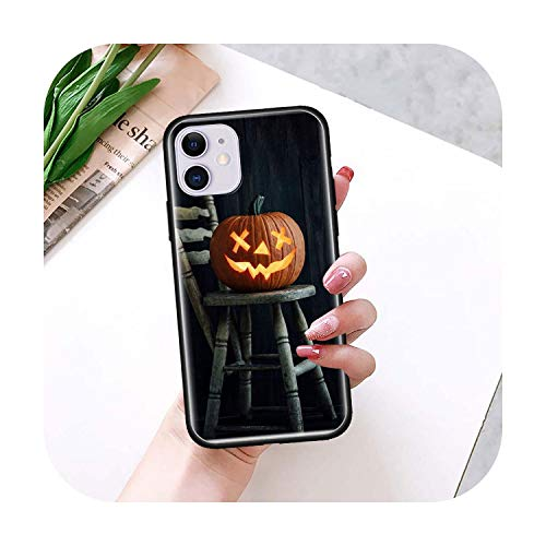 Calabaza Halloween caso para iPhone 11 Pro Max XS X XR 7 8 6 6S Plus 5 5S SE 2020 negro TPU teléfono coque Shell-B12-para iPhone 6S Plus